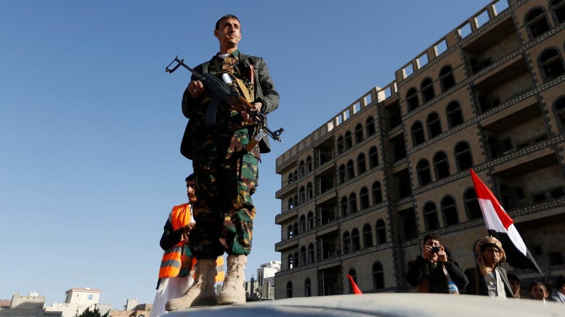 Houthi militant stands guard during a rally in Sanaa, Yemen. (Reuters)
