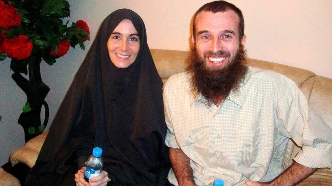 Freed hostages, Amanda Lindhout and Nigel Brennan, a freelance Australian photojournalist, in Mogadishu on November 26, 2009. (Reuters)