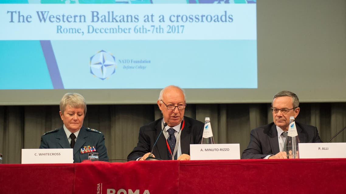 "NATO Commander Chris Whitecross during ""The Western Balkans at a crossroads"" in Rome, Italy. (Supplied)"