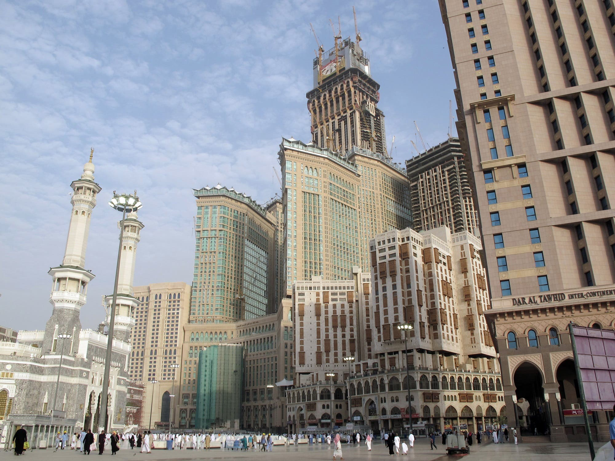The Mecca Clock Royal Tower hotel is seen under construction, topped by the biggest clock in the world with a 45 meters diameter, which overlooks the Grand Mosque on June 16, 2010, in Mecca. (AFP)