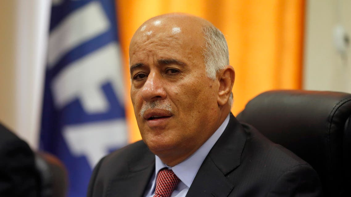 Chairman of the Palestinian football association Jibril Rajoub speaks during a press conference in the West Bank city of Al-Ram between Jerusalem and Ramallah on October 29, 2017.  ABBAS MOMANI / AFP