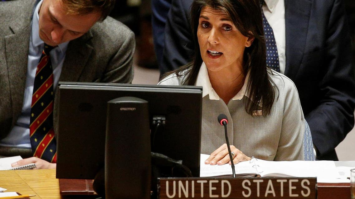 United States ambassador to the UN Nikki Haley addresses the UN Security Council meeting on the situation in the Middle East, including the Palestine, at the United Nations Headquarters in New York, on  December 8, 2017. (Reuters)
