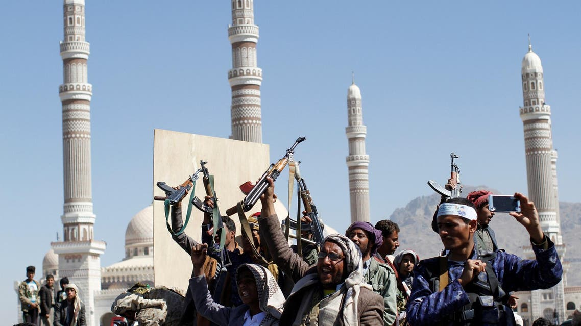 Houthi fighters attend the funeral of their fellow who were killed during the recent clashes in Sanaa on December 7, 2017. (Reuters)