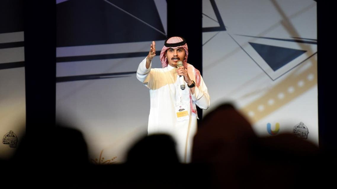 Saudi comedian Nawaf al-Qahtani performs on stage during the Stand-up Comedy Festival. (AFP)