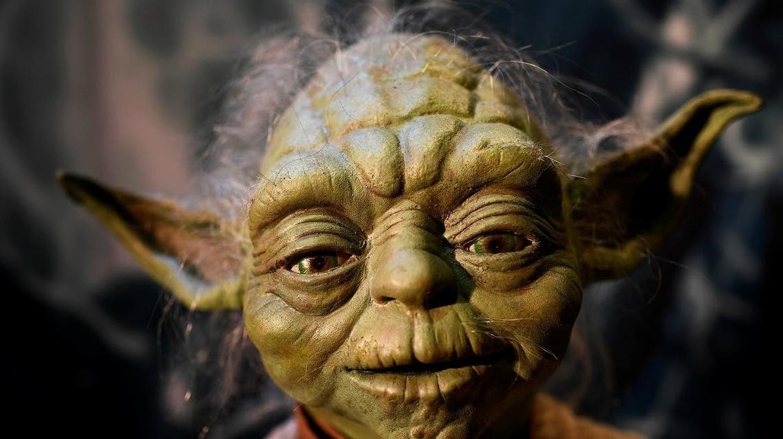 The Yoda puppet used in the original movies, is seen at the Star Wars Identities exhibition at the 02 in London. (Reuters)