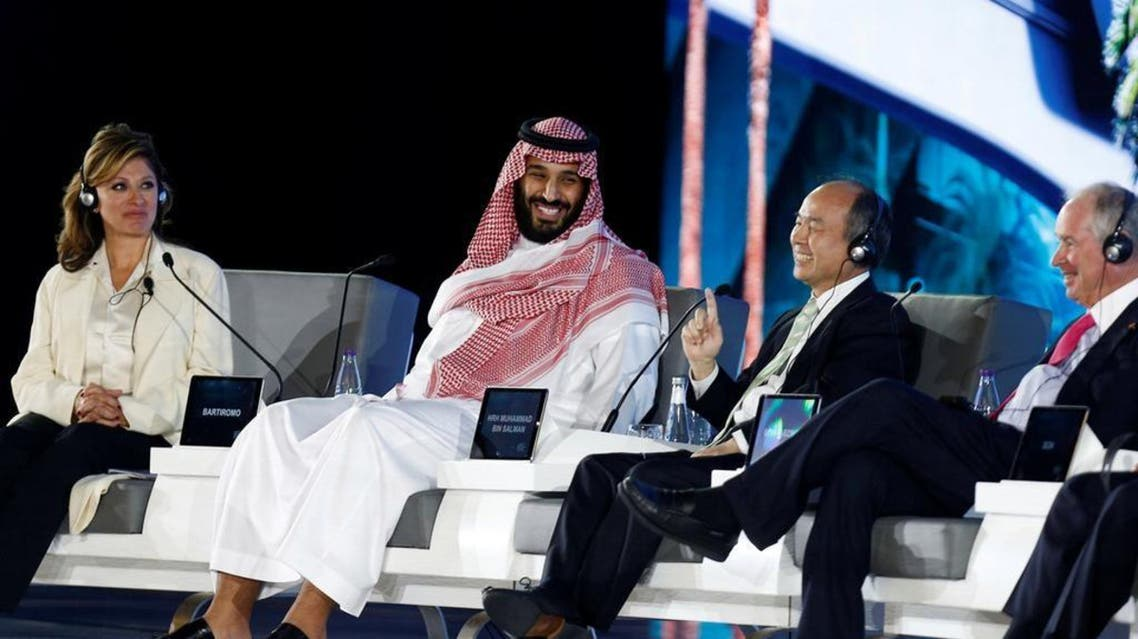 Crown Prince Mohammad bin Salman and Masayoshi Son, SoftBank Group Corp. Chairman and CEO attend the Future Investment Initiative conference in Riyadh. (Credit: Faisal Al-Nasser/Reuters)