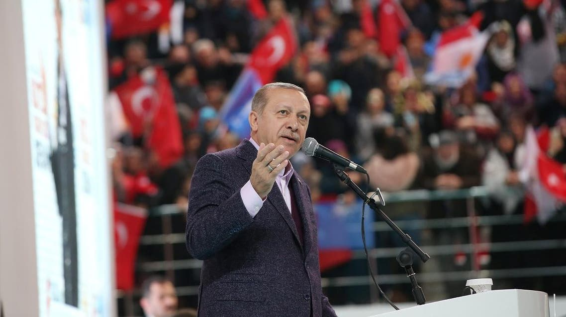 Turkish President Erdogan addresses his supporters during a meeting of his ruling AK Party in Sivas. (Reuters)