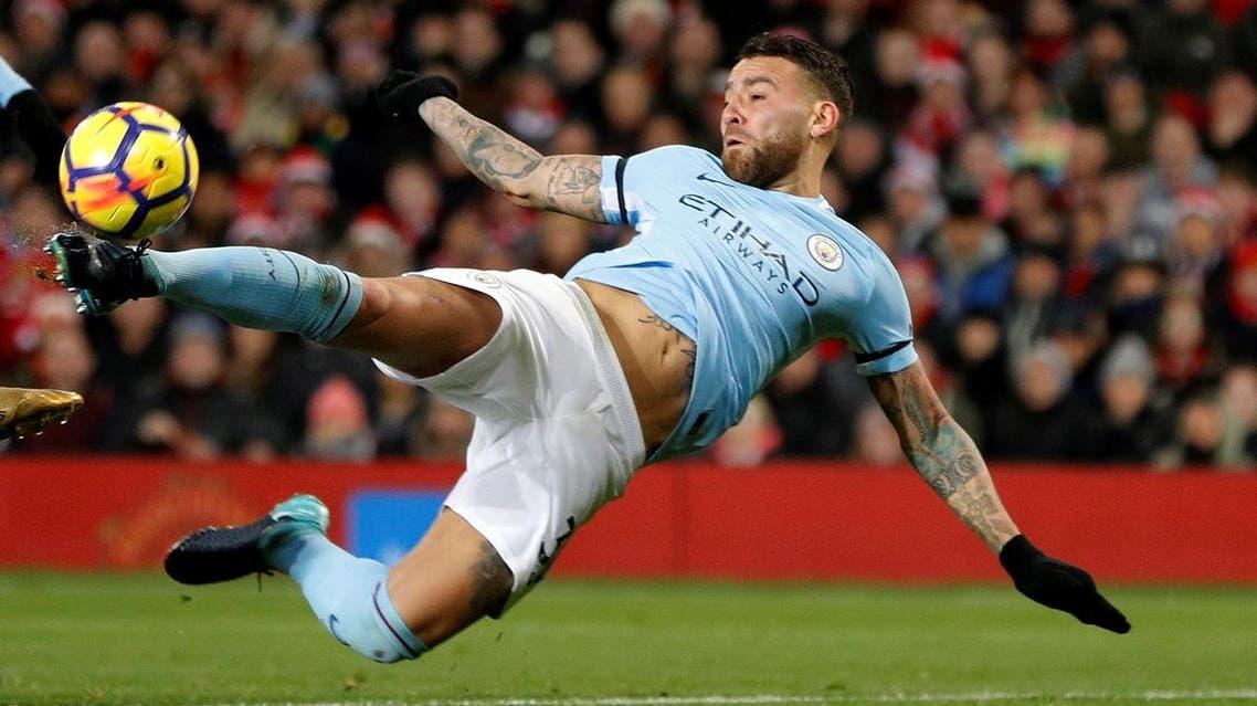 Manchester City's Nicolas Otamendi scores their second goal. (Reuters)