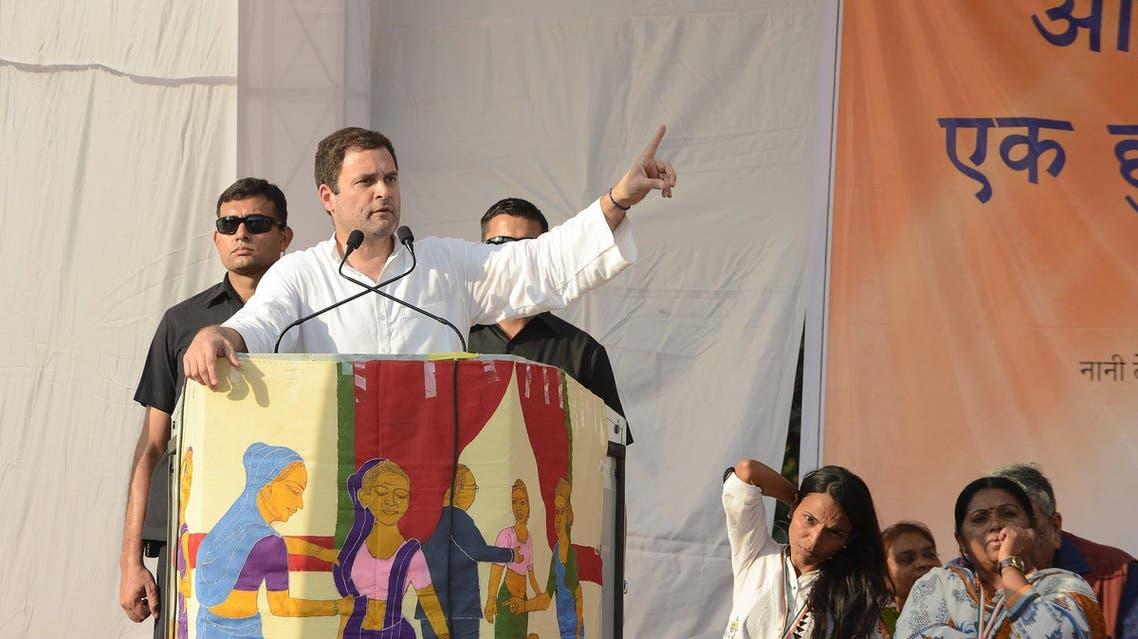 Rahul Gandhi addresses a crowd near Ahmedabad on November 24, 2017. (AFP)