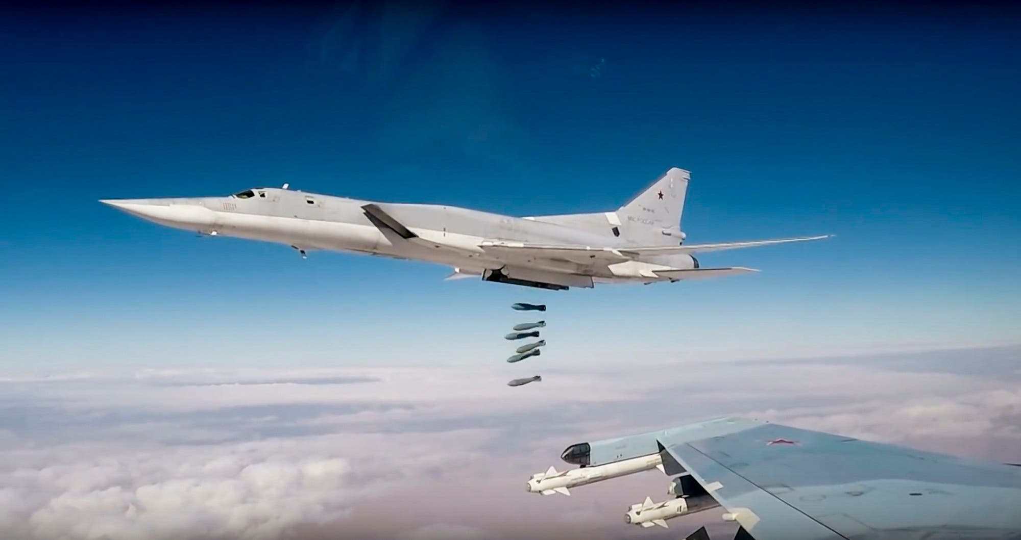 This file photo made from the footage taken from Russian Defense Ministry official web site on Nov. 26, 2017, shows Russian Tu-22M3 long-range bombers strike ISIS targets in Syria. (AP)