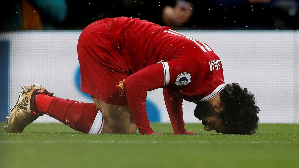 Liverpool's Mohamed Salah celebrates scoring their first goal Action, December 10, 2017. (Reuters)