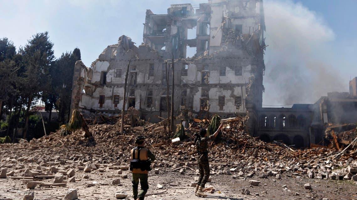 Saudi coalition air strikes in Sanaa Yemen. (AFP)