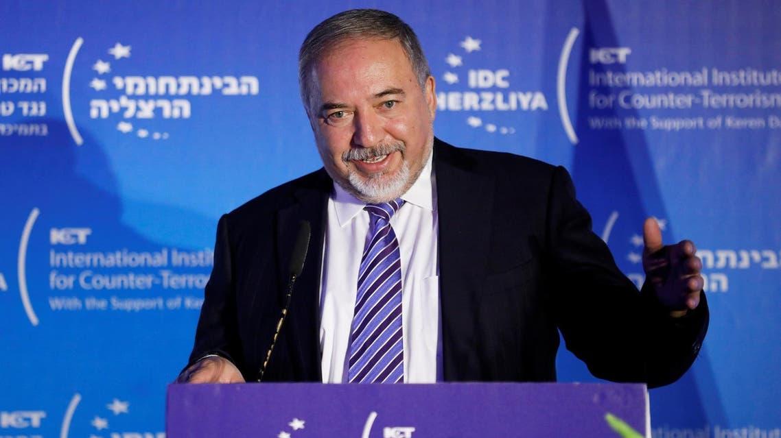 Avigdor Lieberman speaks during the International Institute for Counter Terrorism's 17th annual conference in Herzliya, Israel, on September 11, 2017. (Reuters)