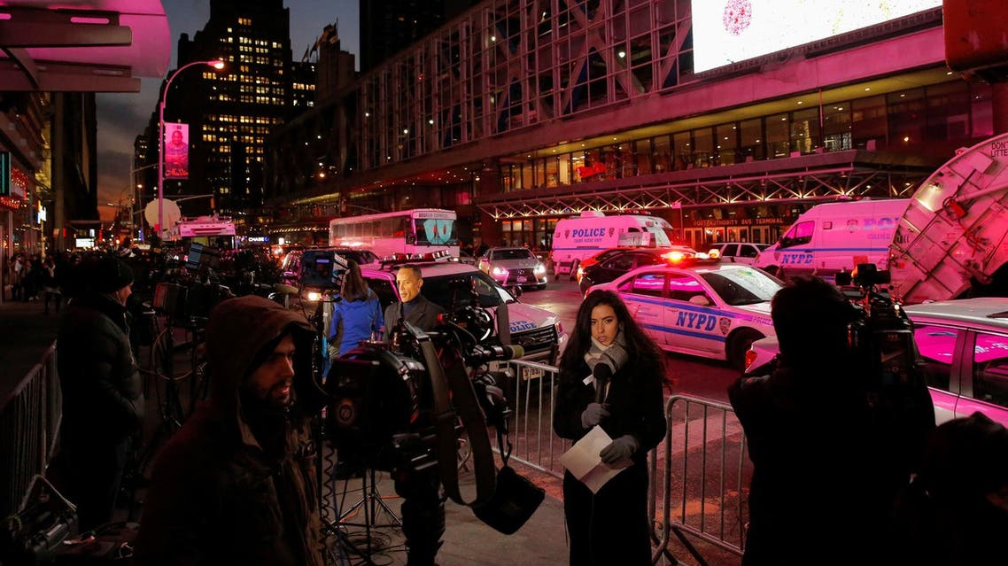 Members of the media gather following the attempted detonation in New York City, New York, on December 11, 2017. (Reuters)