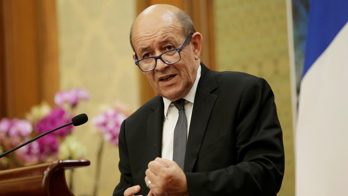 French Foreign Minister Jean-Yves Le Drian attends a joint news conference with China's Foreign Minister Wang Yi (not pictured) at Diaoyutai State Guesthouse in Beijing, China November 24, 2017. REUTERS/Jason Lee
