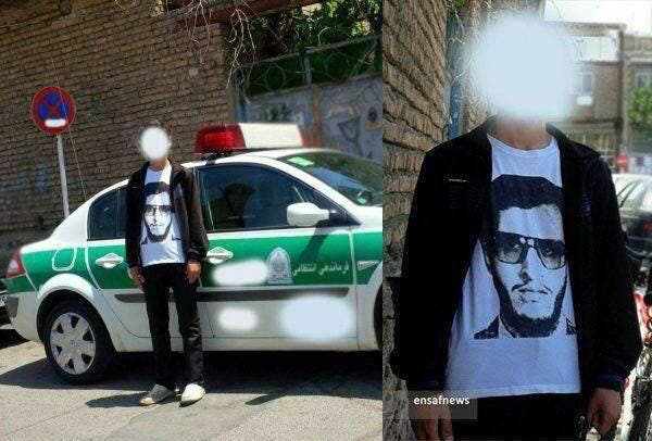The picture, published by IRGC social media, shows one of the patrolling party member wearing a T-shirt with the photo of former deputy minister of intelligence Saeed Emami who is said to have been the symbol of atrocities on dissident intellectuals in 1988–98. (Supplied)