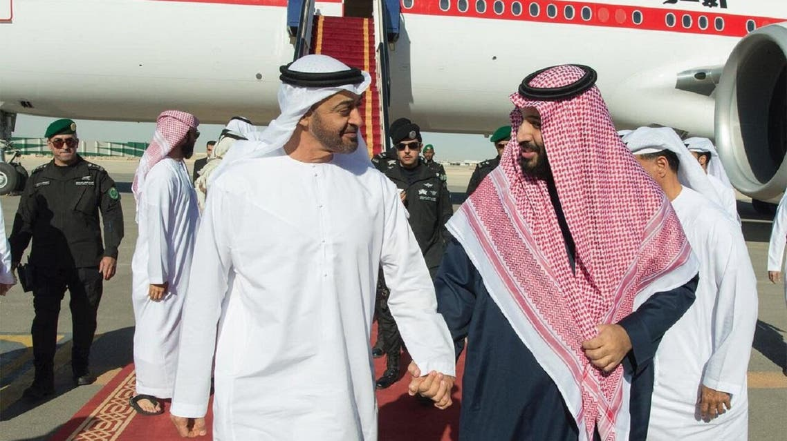 Mohammed bin Salman received Sheikh Mohammed bin Zayed at the Prince Salman airbase on Wednesday. (SPA)