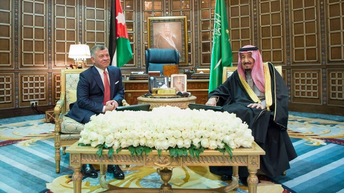 King Salman held official talks with King Abdullah of Jordan in Riyadh on Tuesday. (SPA)