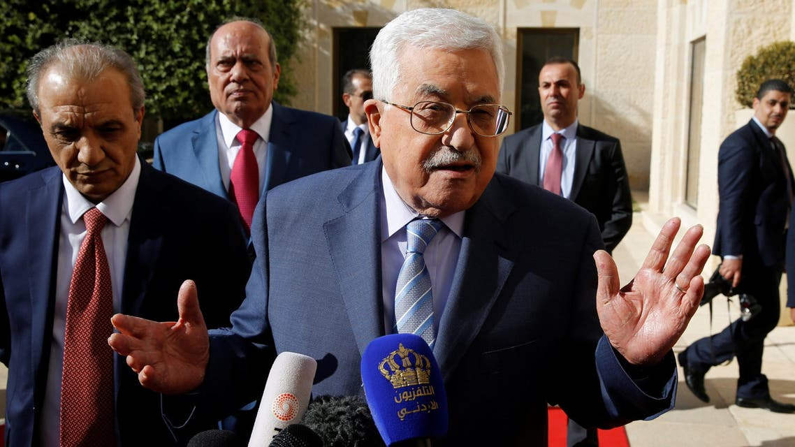 Mahmoud Abbas speaks to the media after his meeting with Jordan's King Abdullah in Amman on October 22, 2017. (Reuters)