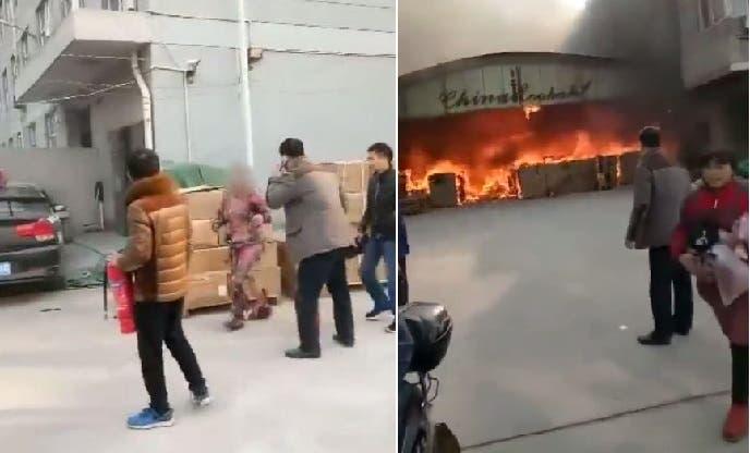 بالفيديو: صيني يرمي بنفسه وسط النيران من أجل إنقاذ هاتفه الجوال