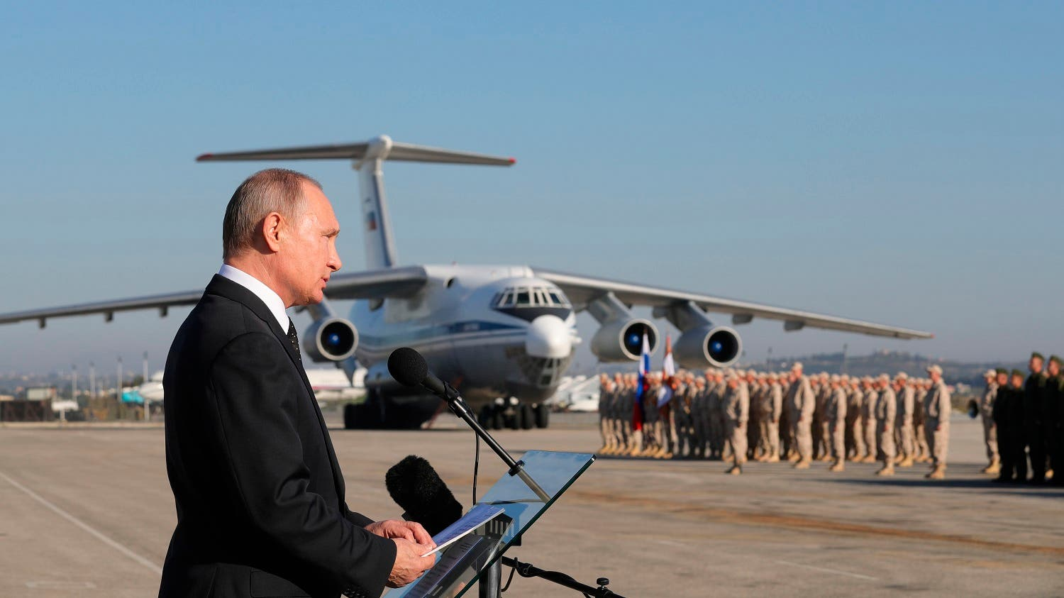 Putin addresses the troops at the Hemeimeem air base in Syria, on Monday, Dec. 11, 2017. (AP)
