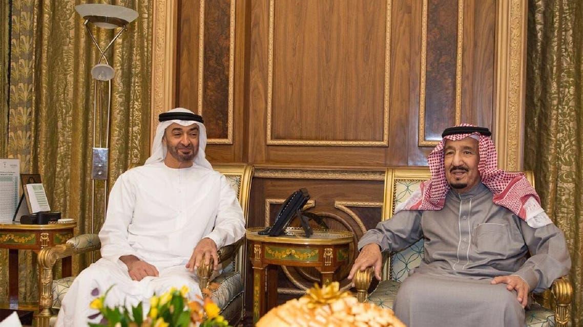 King Salman with Sheikh Mohammed bin Zayed. (SPA)