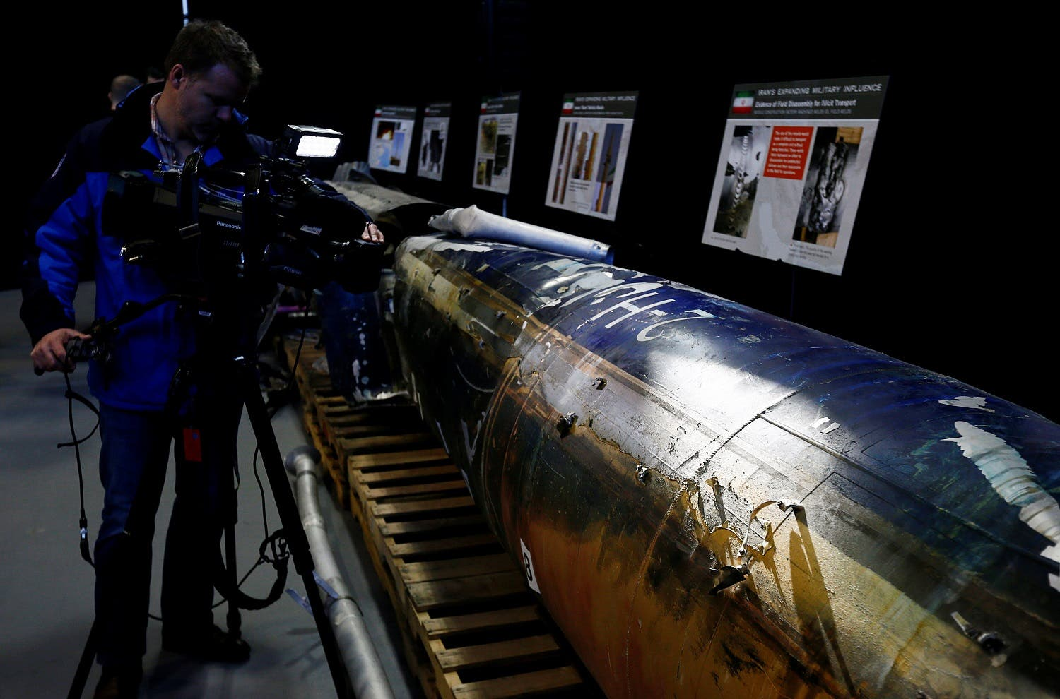 """A missile that the US Department of Defense says is a """"Qiam"""" ballistic missile manufactured in Iran and that the Pentagon says was fired by Houthi rebels from Yemen into Saudi Arabia on July 22, 2017 is seen on display at a US military base in Washington, on December 13, 2017. (Reuters)"""