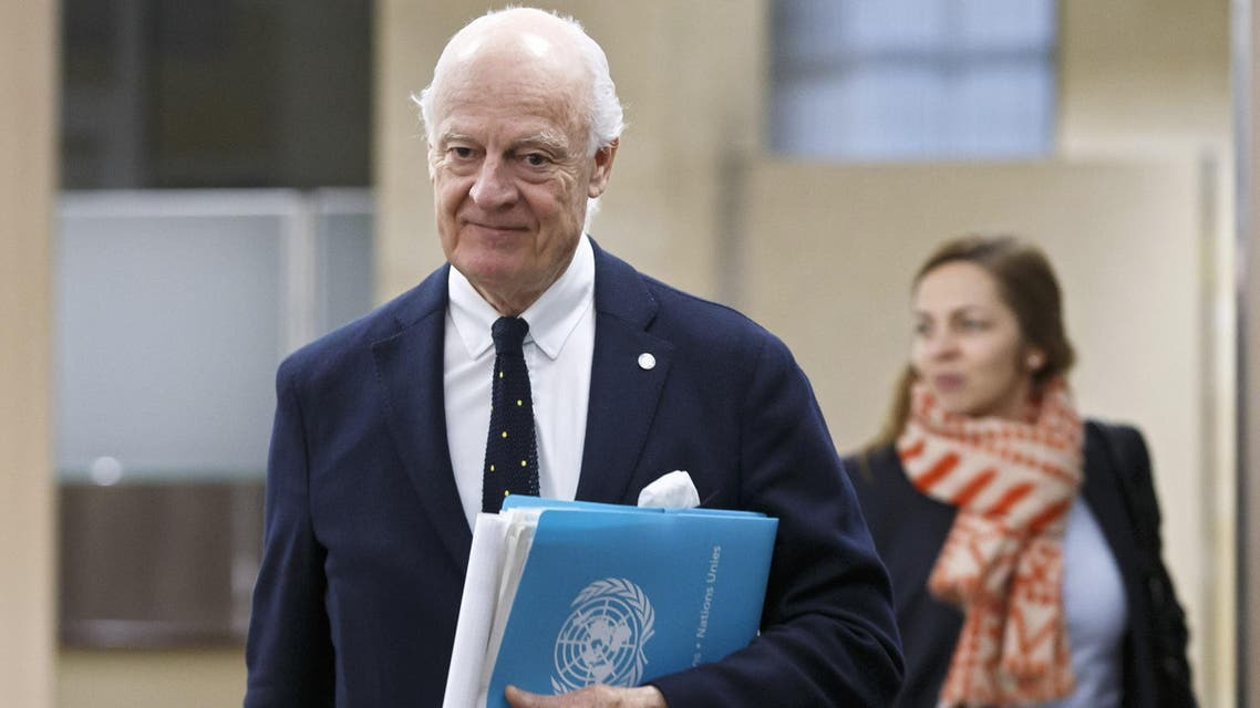 Staffan de Mistura arrives for negotiations at the European headquarters of the United Nations in Geneva on December 13, 2017. (AFP)