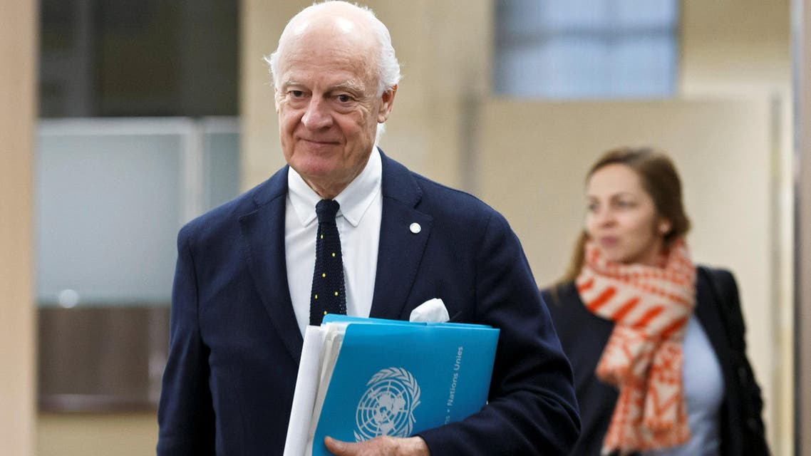 UN Special Envoy to the Secretary-General for Syria Staffan de Mistura arrives for a round of negotiation with Nasr al-Hariri (not pictured), Head of the Syrian Negotiation Commission, during the Intra Syria talks at the European headquarters of the United Nations in Geneva, Switzerland December 13, 2017. REUTERS/Salvatore Di Nolfi/Pool