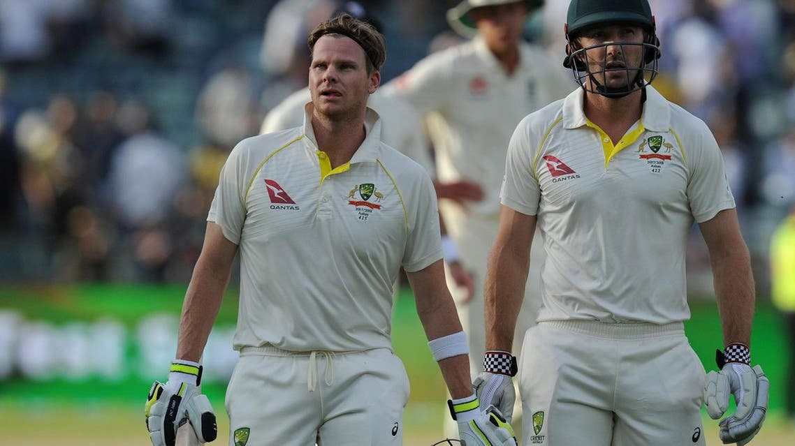 Australia's Steve Smith (front-L) and teammate Shaun Marsh (front-R) leave the field at the end of play on day two of the third Ashes cricket Test match in Perth on December 15, 2017. (AFP)