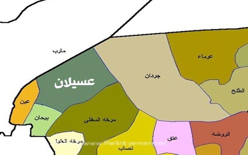 خريطة لمواقع بعض مديريات محافظة شبوة