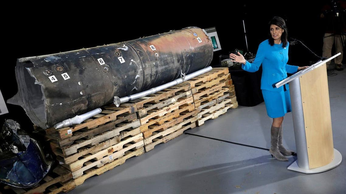 US Ambassador to the United Nations Nikki Haley briefs the media in front of remains of Iranian 'Qiam' ballistic missile provided by Pentagon at Joint Base Anacostia-Bolling in Washington, on December 14, 2017. (Reuters)
