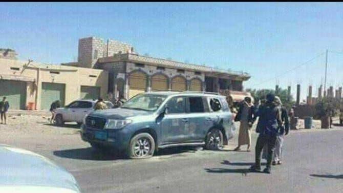 صورة نشرها ناشطون لسيارة الشيخ القبلي بعد مقتله على أيدي الحوثيين