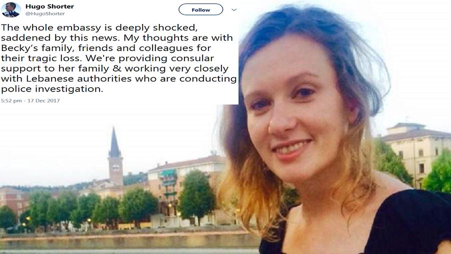 ربيكا دايكس، وتغريدة كتبها السفير البريطاني في بيروت، ينعيها فيها
