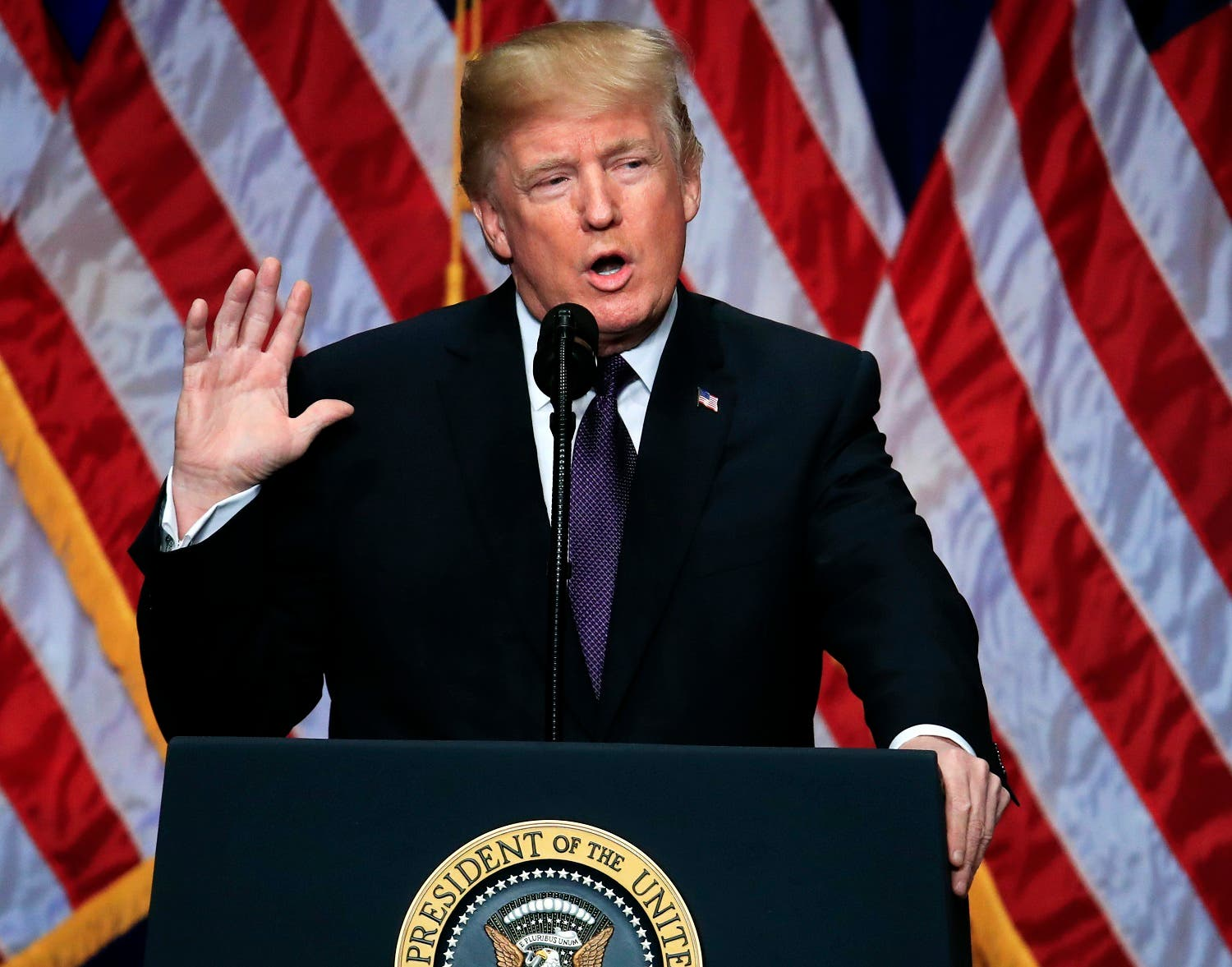 President Donald Trump lays out a national security strategy that envisions nations in perpetual competition, reverses Obama-era warnings on climate change, and de-emphasizes multinational agreements, in Washington, Monday, Dec. 18, 2017. (AP)