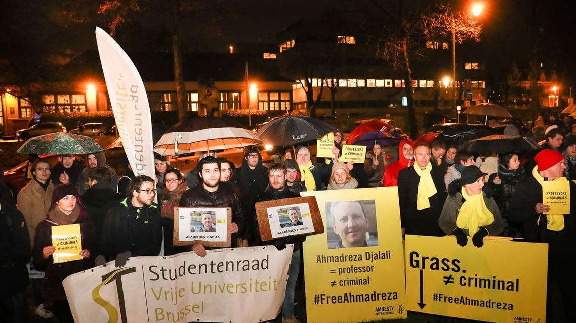 A photo taken on February 13, 2017 shows a flyer during a protest outside the Iranian embassy in Brussels for Ahmadreza Djalali, an Iranian academic detained in Tehran for nearly a year and reportedly sentenced to death for espionage.  (AFP)