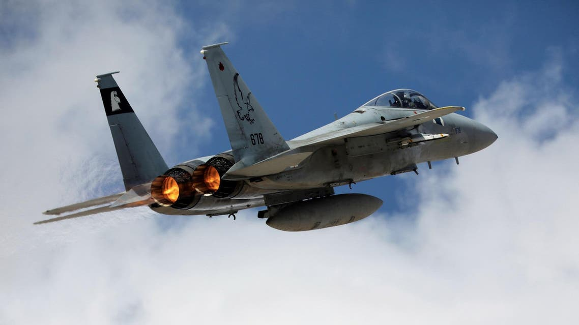 An Israeli F15 fighter jet takes off during a joint international aerial training exercise