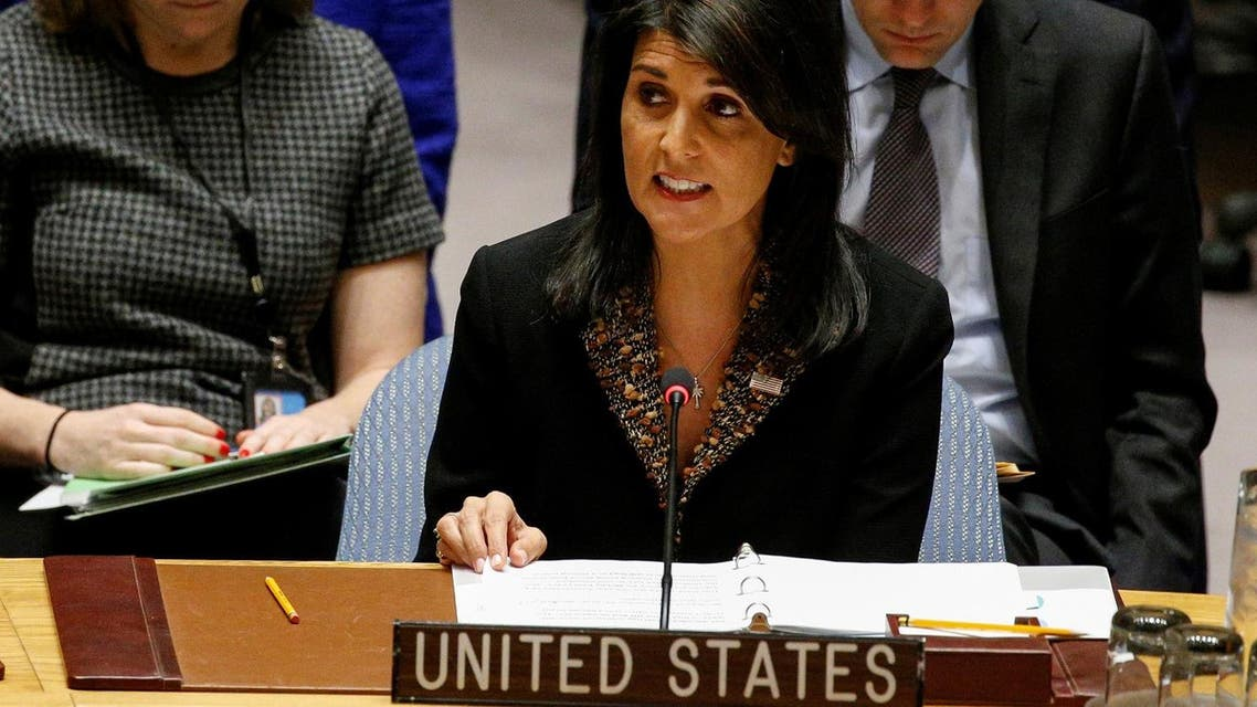 U.S. Ambassador to the United Nations Nikki Haley speaks during the United Nations Security Council meeting on the situation in the Middle East. (Reuters)