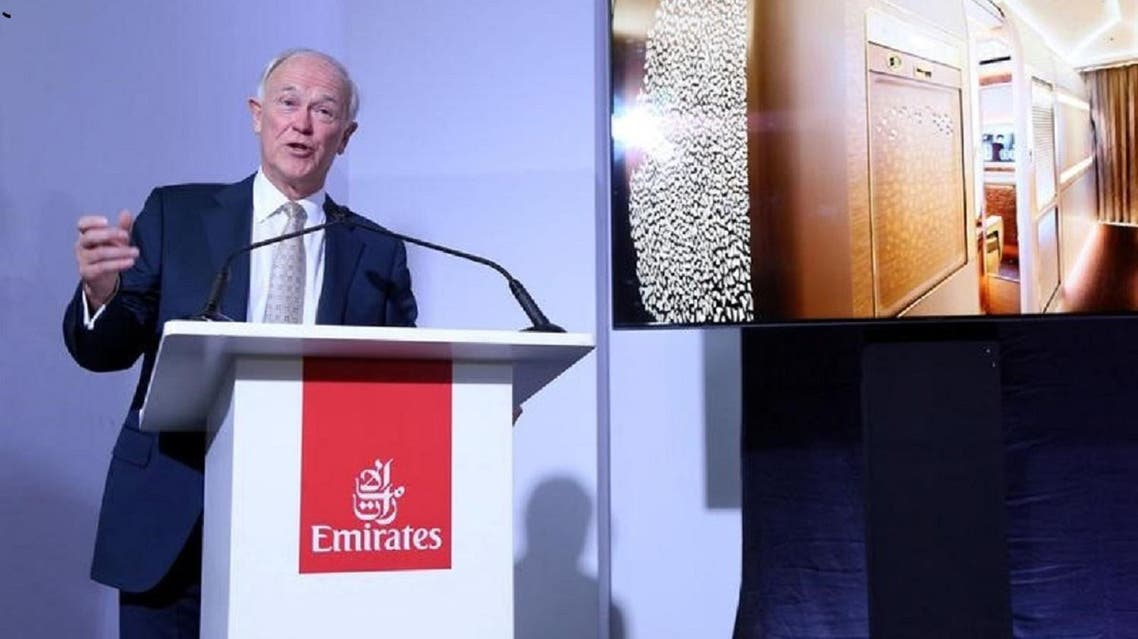 Tim Clark, President of Emirates, speaks at a press conference in Dubai on November 12, 2017. (Reuters)