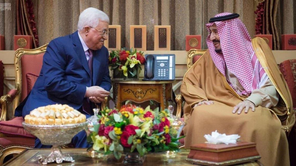 Saudi King Salman receives Palestinian President Mahmoud Abbas in Riyadh