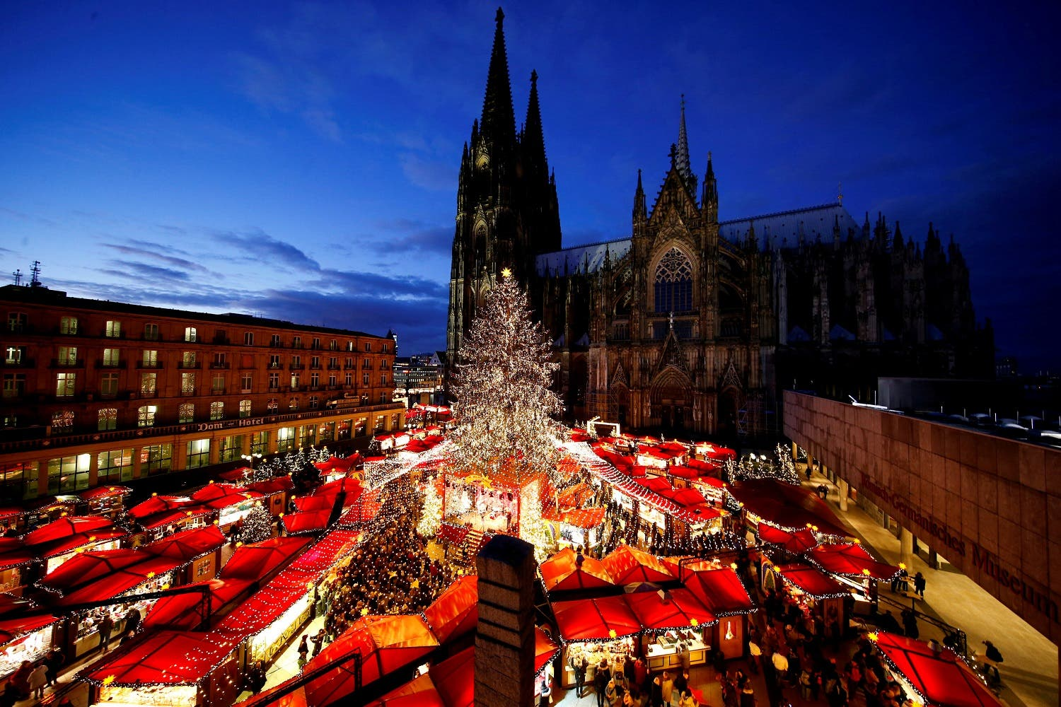 A general view of the Christmas market on the square in front of the world famous gothic cathedral in Cologne, Germany, November 28, 2017. (Reuters)