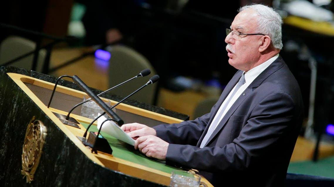 Palestinian Foreign Minister Riyad al-Malki addresses to members of delegations at the General Assembly for the vote on Jerusalem, on December 21, 2017, at UN Headquarters in New York. (AFP)