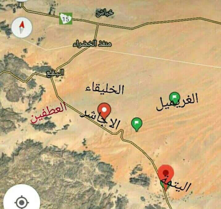 خريطة توضح الموقع الاستراتيجي لمنطقة الأجاشر