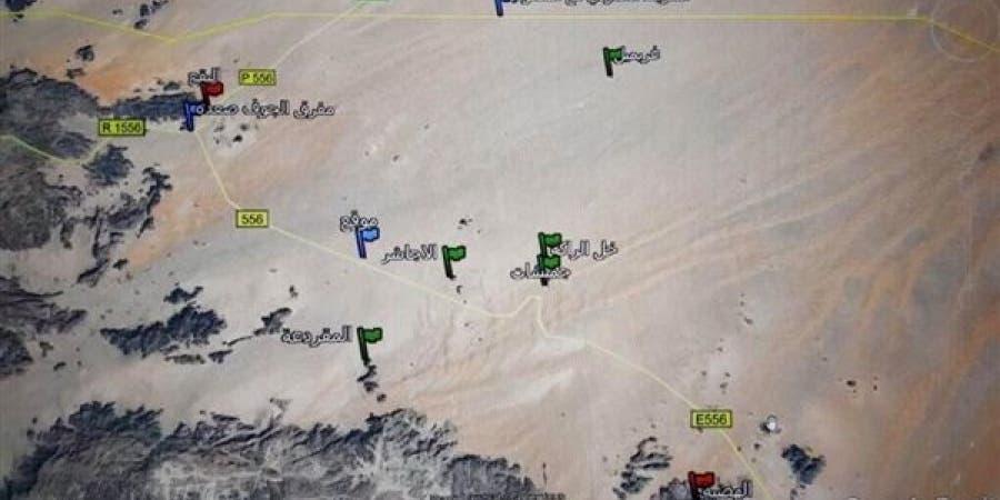خريطة للمواقع المحيطة بمعسكر الأجاشر في الجوف