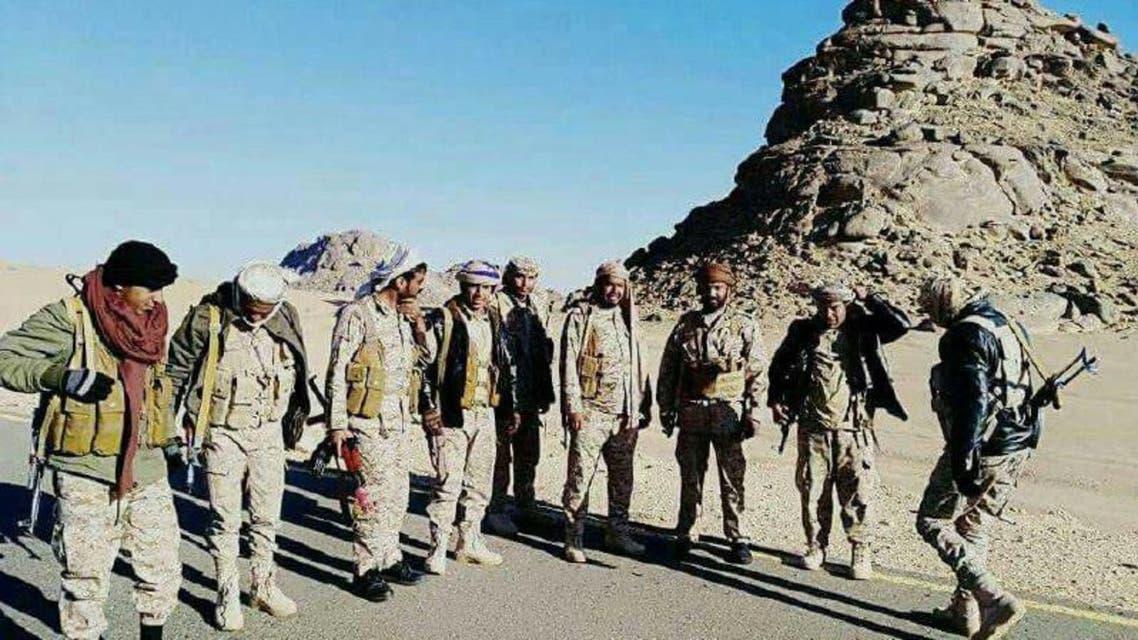 جبل الأجاشر الذي يظهر خلف الجيش اليمني عقب السيطرة عليه