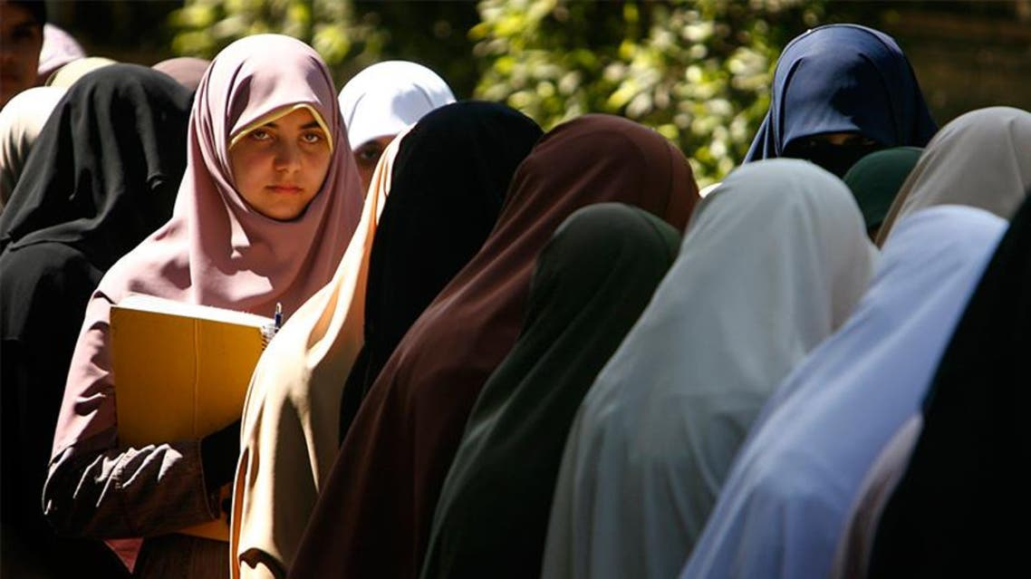 Egyptian students stand in a line during a protest inside Cairo University, March 21, 2007. (File photo: Reuters)