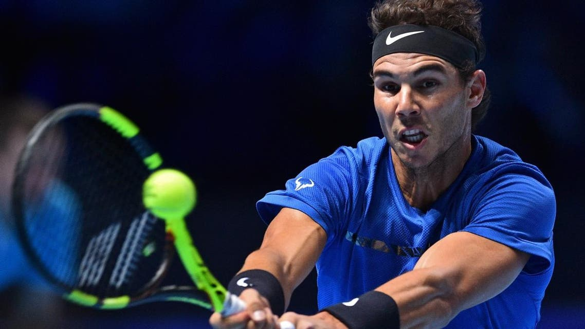 Spain's Rafael Nadal returns against Belgium's David Goffin during their singles match on day two of the ATP World Tour Finals tennis tournament at the O2 Arena in London on November 13, 2017. (AFP)