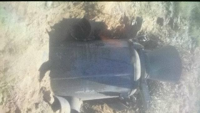 أجزاء الصاروخ الحوثي الذي سقط عقب إطلاقه