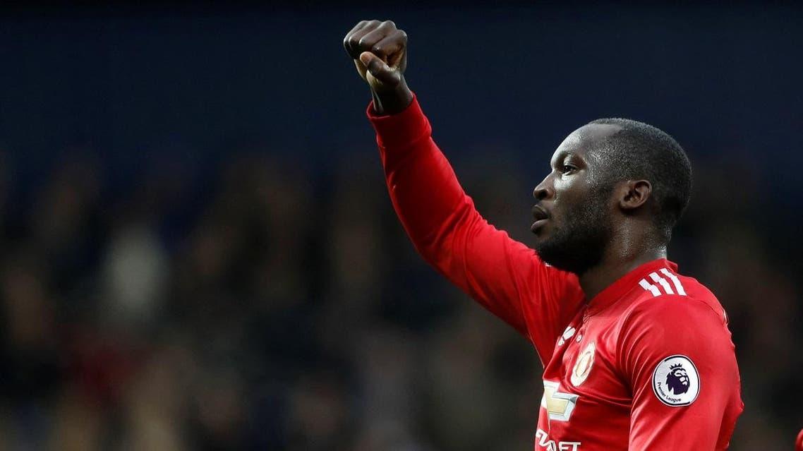 Manchester United's Romelu Lukaku celebrates scoring their first goal Action. (Reuters)