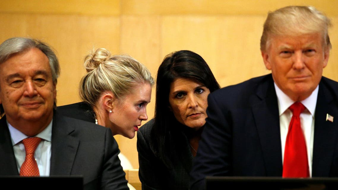 US Ambassador to the UN Nikki Haley (2nd R) receives information, as U.S. President Donald Trump and UN Secretary General Antonio Guterres participate in a session on reforming the United Nations at UN Headquarters in New York, U.S., September 18, 2017. (Reuters)